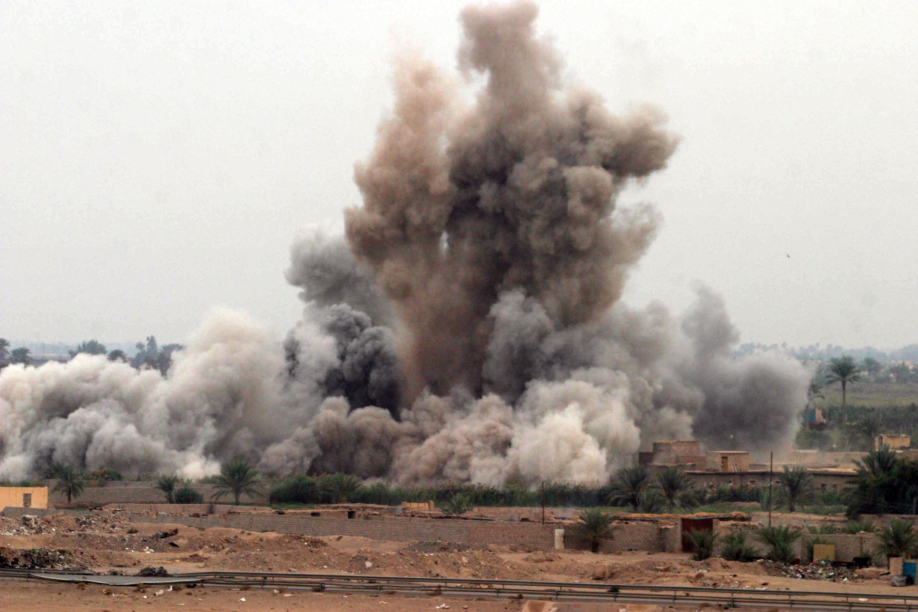 An air strike in Iraq during the Second Battle of Fallujah, Nov. 8, 2004. (Wikimedia)