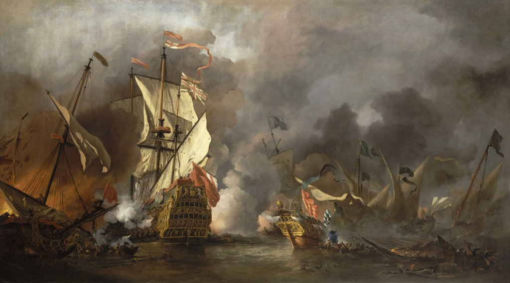 Painting by Willem van de Velde the Younger of English ship, at left, battling Barbary vessels, 1686. (Wikimedia)