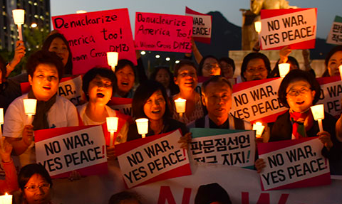 Korea Peace Now rally. (Women Cross DMZ)