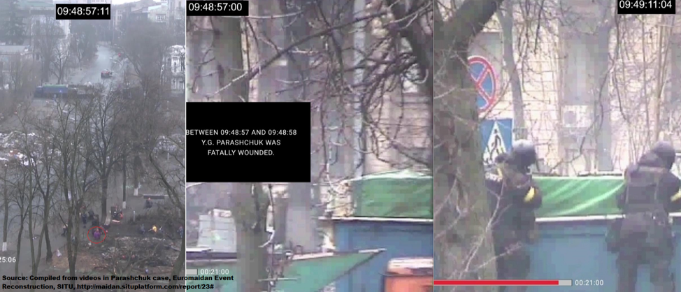 Parashchuk in the blind spot below the line of fire from the police behind the truck