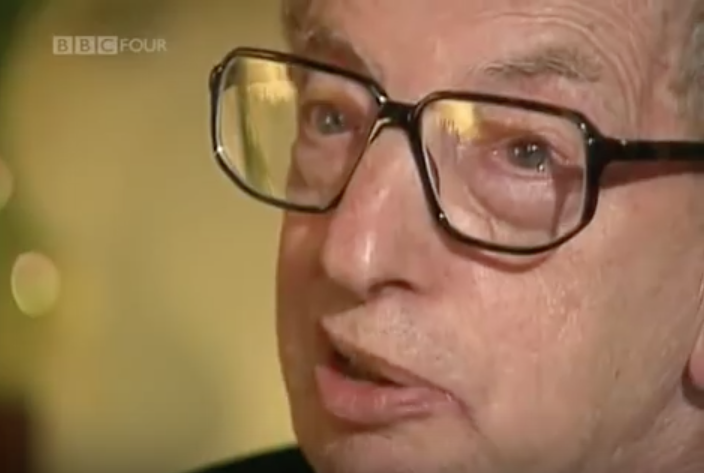"Hobsbawm discussing his book ""Age of Extremes"" with Michael Ignatieff in 1994 on BBC. (Youtube still)"