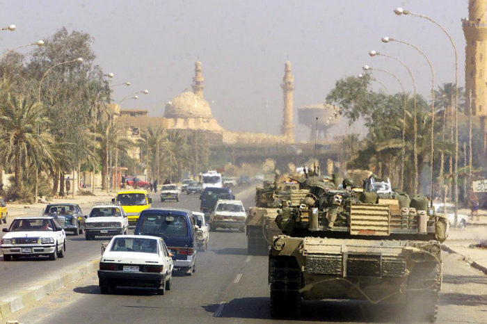 U.S. tanks patrolling Baghdad, April 14, 2003. (U.S. Marine Corps, via Wikimedia.)