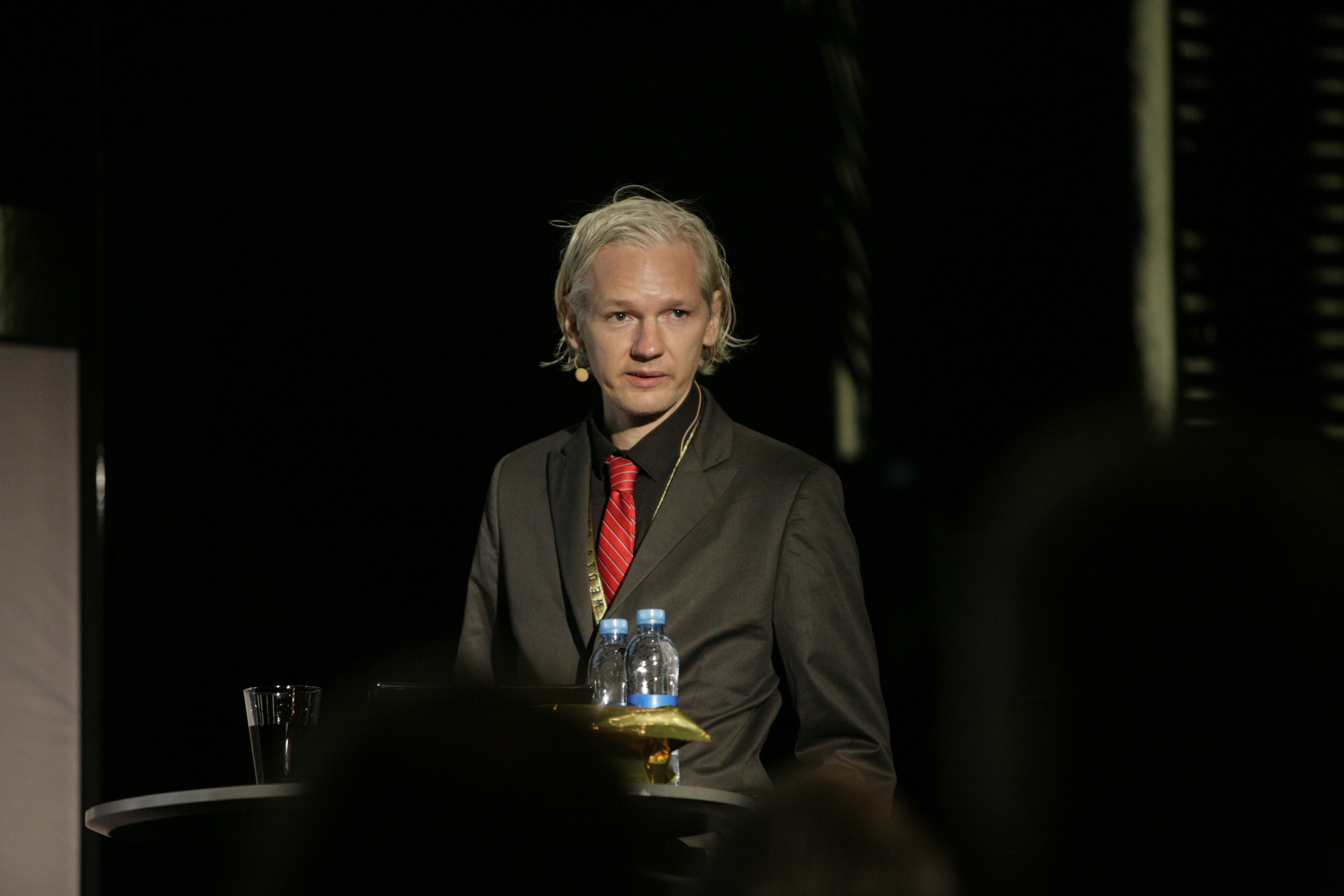 Assange giving talk in 2009. (New Media Days via Flickr)