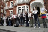 Pro-Assange protesters outside Ecuadorean Embassy in London, June 16, 2013. (Ricardo Patiño via Flickr)