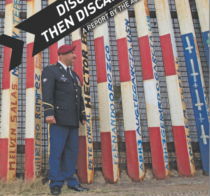 ACLU report cover showing section of U.S.-Mexico border where deported vets have painted their names. (ACLU)