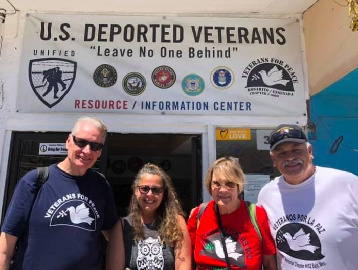 Gerry Condon, national president of Veterans for Peace; Colleen Smith, Gulf War vet; author Ann Wright; Hector Lopez, deported U.S. veteran; outside United Deported Veterans office, April 2019. (Ann Wright)
