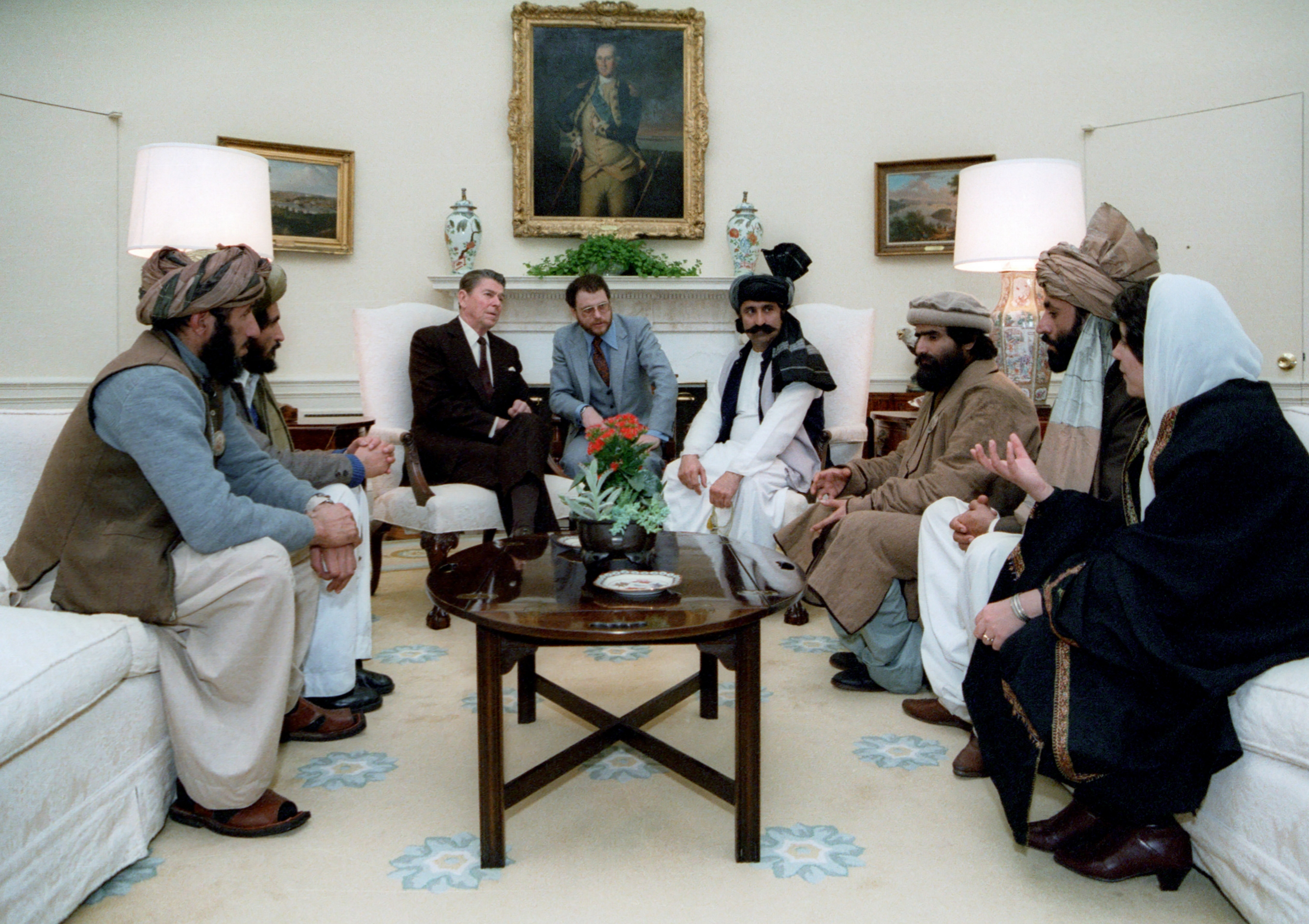 Reagan meeting with Mujahideen, 1983. (Wikimedia Commons)