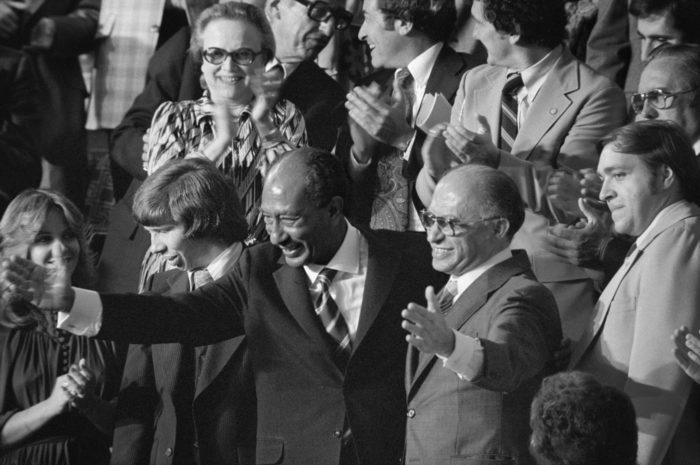 Sadat and Israeli Prime Minister Menachem Begin acknowledge applause during joint session of Congress during which President Jimmy Carter announced the results of the Camp David Accords, Sept. 18, 1978. (Warren Leffler via Wikimedia Commons
