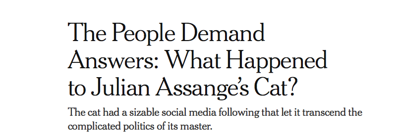 Front-page headline, NYT.com, April 11, 2019.