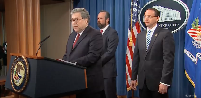 Barr holding press conference on full Mueller report, April 18, 2019. (YouTube)