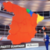Election night TV graphic showing Catalonia in yellow. (Twitter)