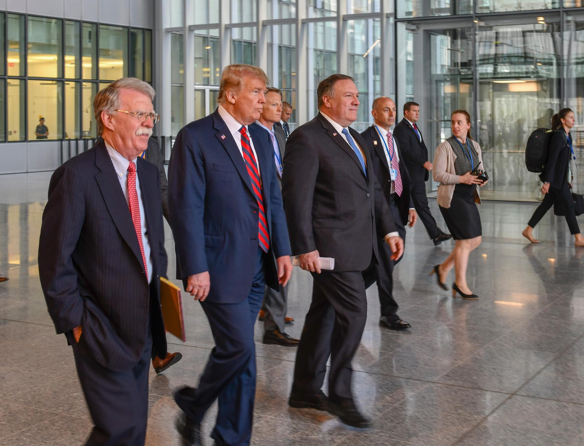 Left to right: Pompeo, Trump and Bolton. (Wikimedia Commons)