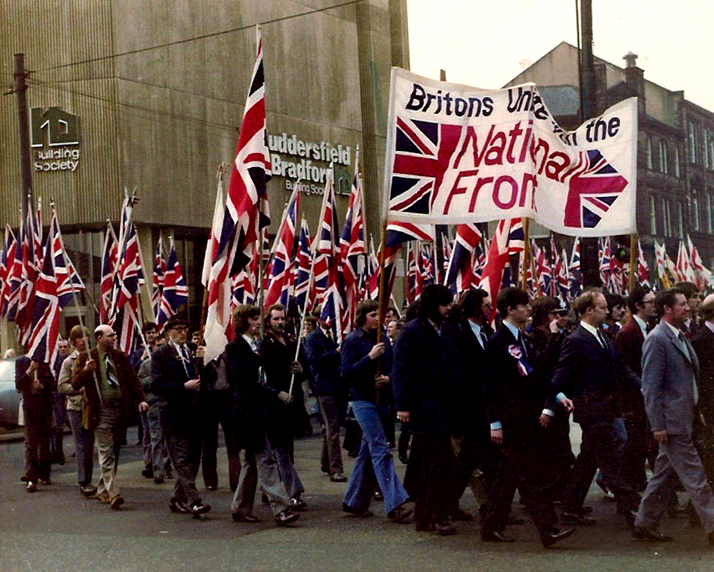 1970s march by National Front, from which the British National Party emerged. (White Flight, CC BY-SA 3.0, via Wikimedia Commons)