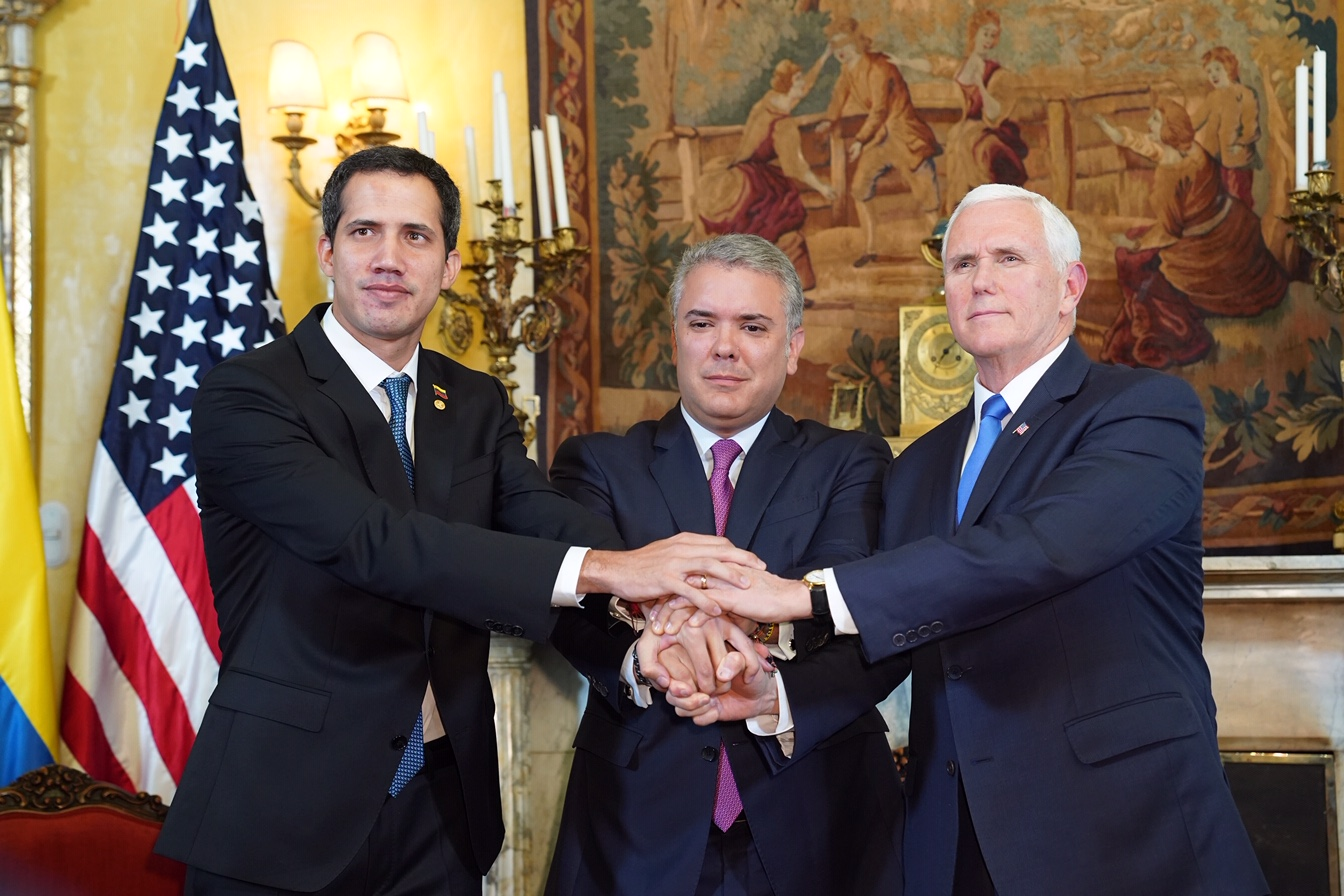 Pence, Guaido and President Iván Duque Márquez of Colombia, Feb. 25, 2019 (White House/ D. Myles Cullen)