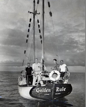 1958 Golden Rule crew: William Huntington, Captain Albert Bigelow, Orion Sherwood and George Willough. (Swathmore Peace collection)