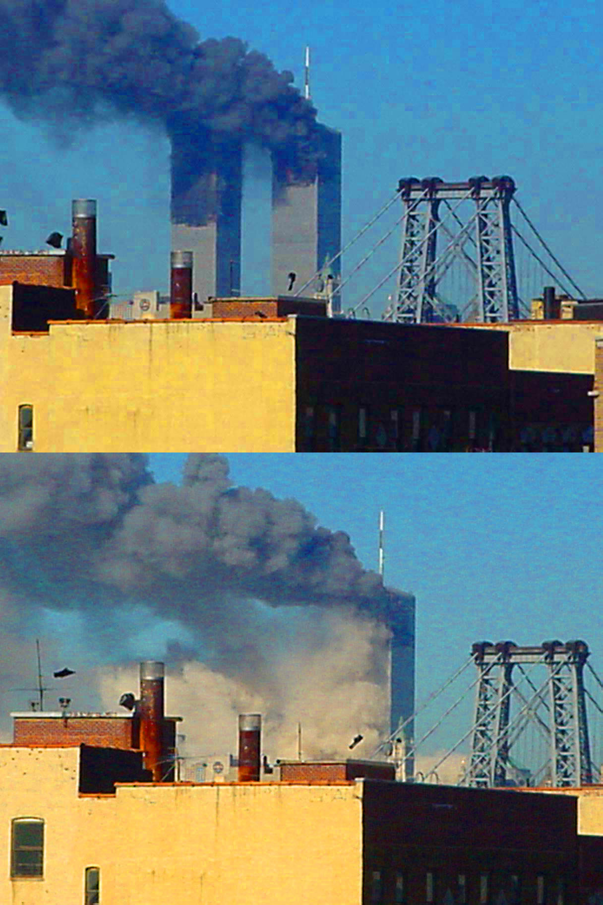 Collapse of 2 World Trade Center seen from Williamsburg, Brooklyn. (Pauljoffe, CC BY-SA 3.0, Wikimedia Commons)