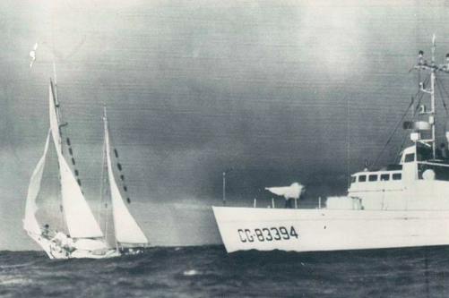 U.S. Coast Guard stopping The Golden Rule off Honolulu, 1958. (Swathmore Peace collection)