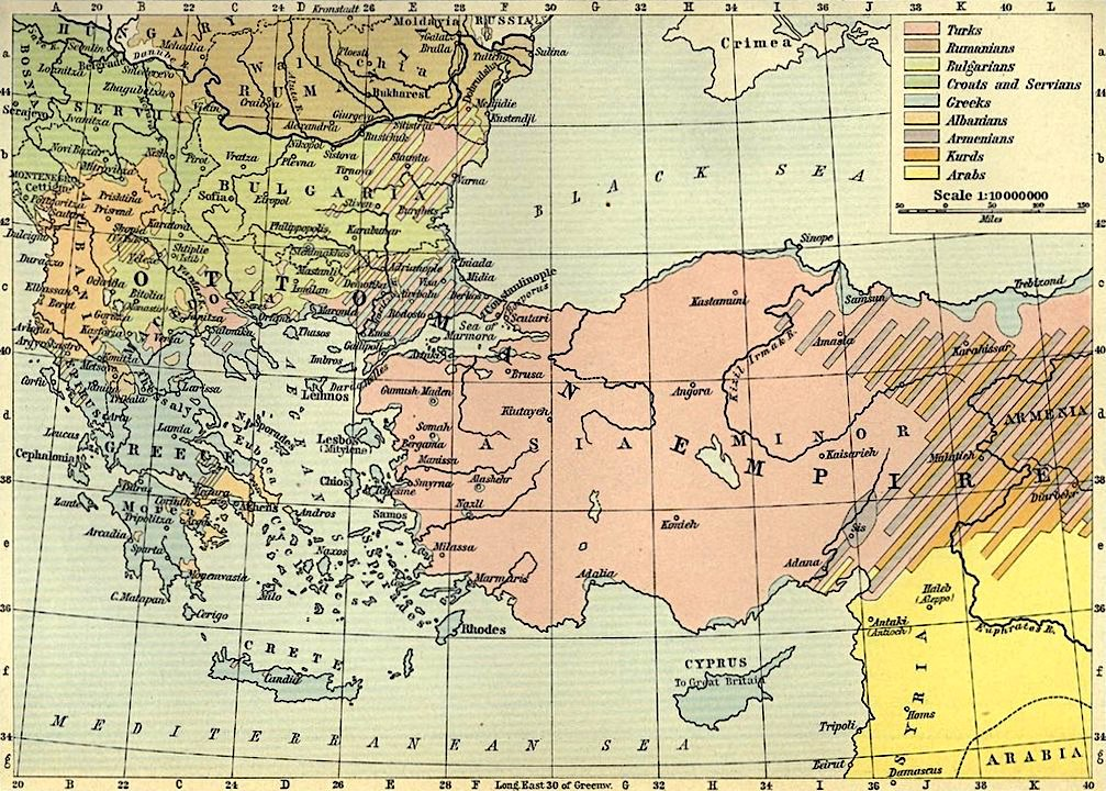 Ethnic groups in the Balkans and Asia Minor, early 20th Century, Historical Atlas, 1911.