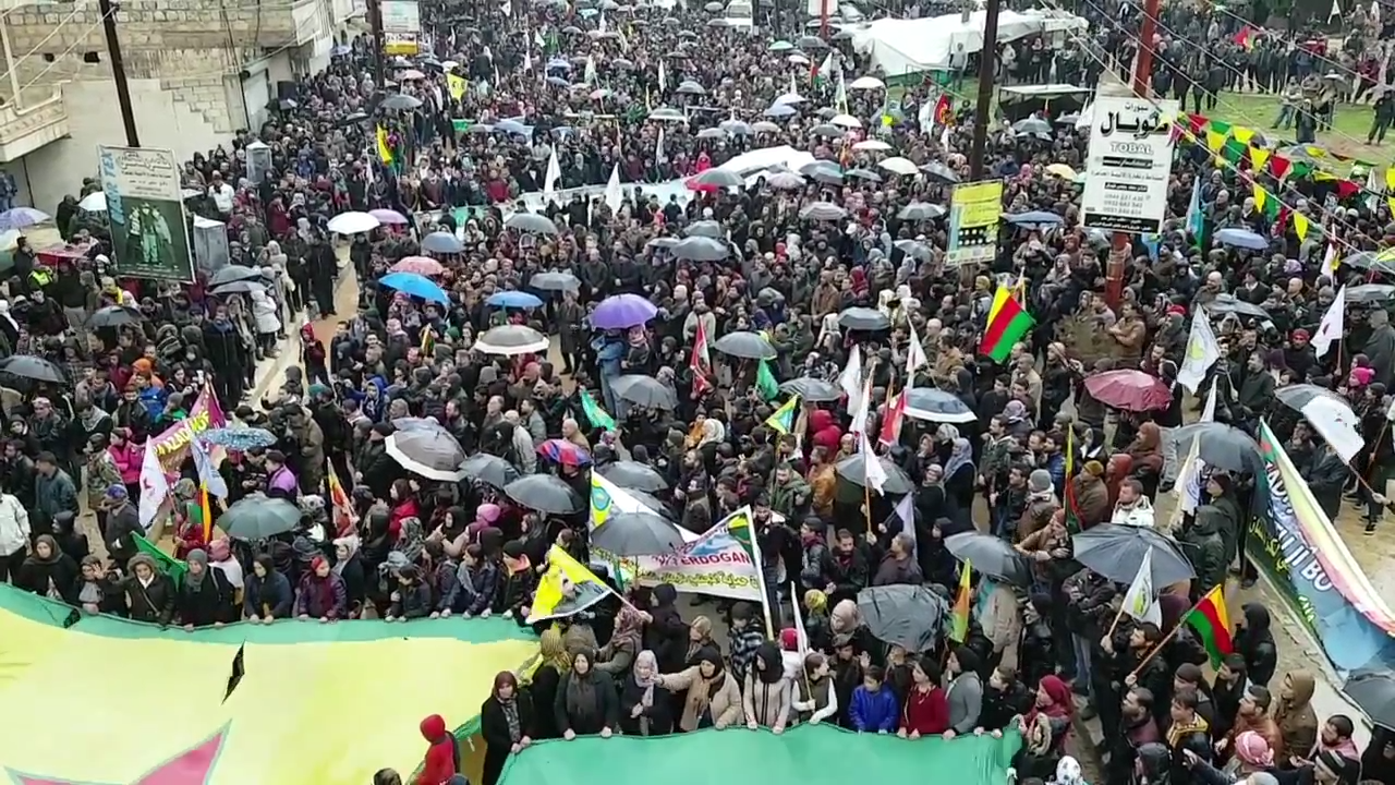 A demonstration in the city of Afrin in support of the YPG against the Turkish invasion of Afrin, Jan. 19, 2018. (Voice of America Kurdish, Wikimedia Commons)