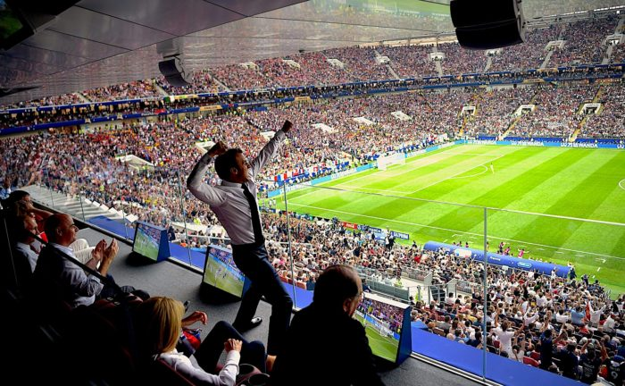 President Emmanuel Macron celebrating France's victory over Croatia in the 2018 World Cup final in Moscow. (Kremlin)