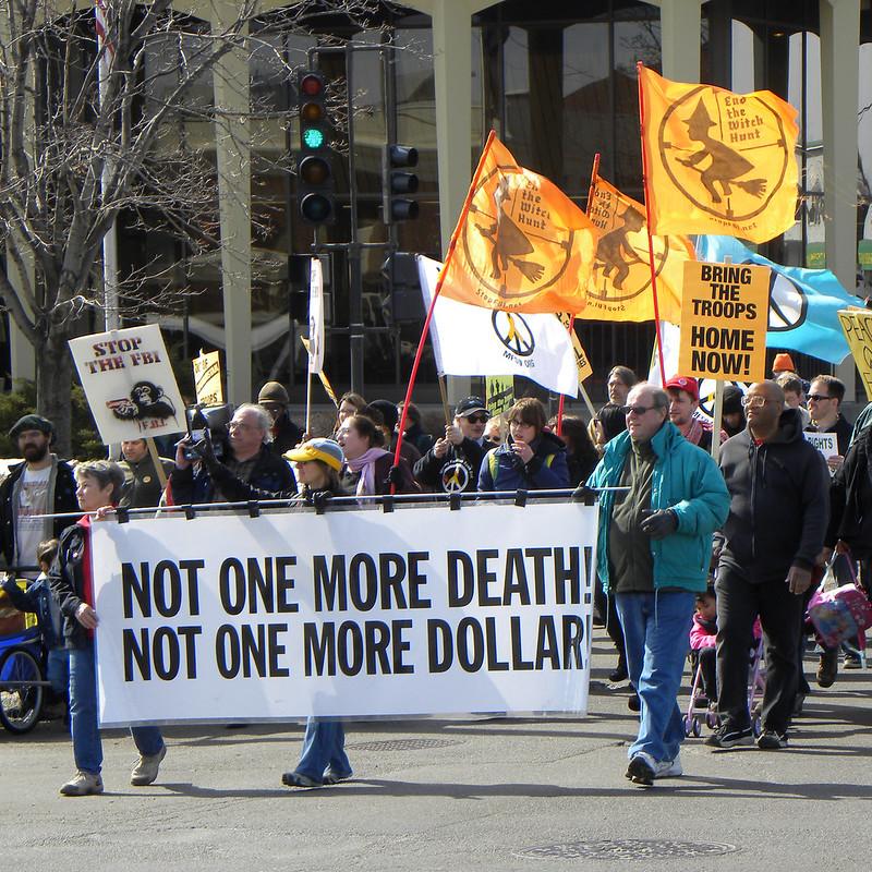 Protest against U.S. wars in Iraq, Afghanistan, St. Paul, Minnesota, March 19, 2011. (Fibonacci Blue, Flickr)