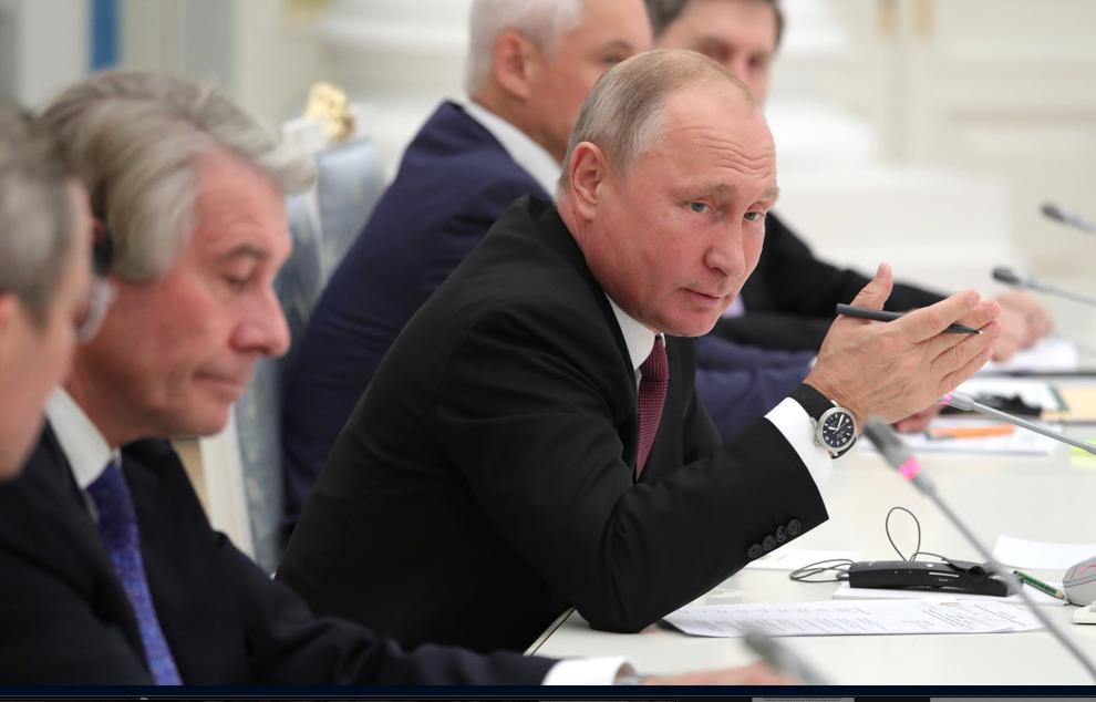 President Vladimir Putin meeting with German business executives, Nov. 1, 2018. (The Kremlin)