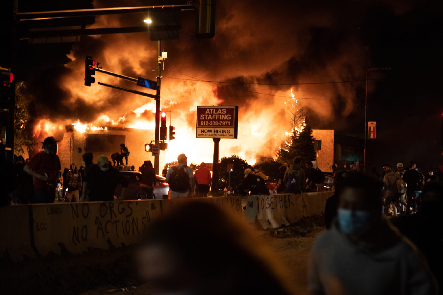 Building burning in Minneapolis on May 29, 2020, during George Floyd protests. (Hungryogrephotos, CC0, Wikimedia Commons)