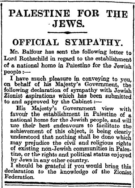 Balfour Declaration as published in The Times, Nov. 9, 1917. (The Times of London, Wikimedia Commons)