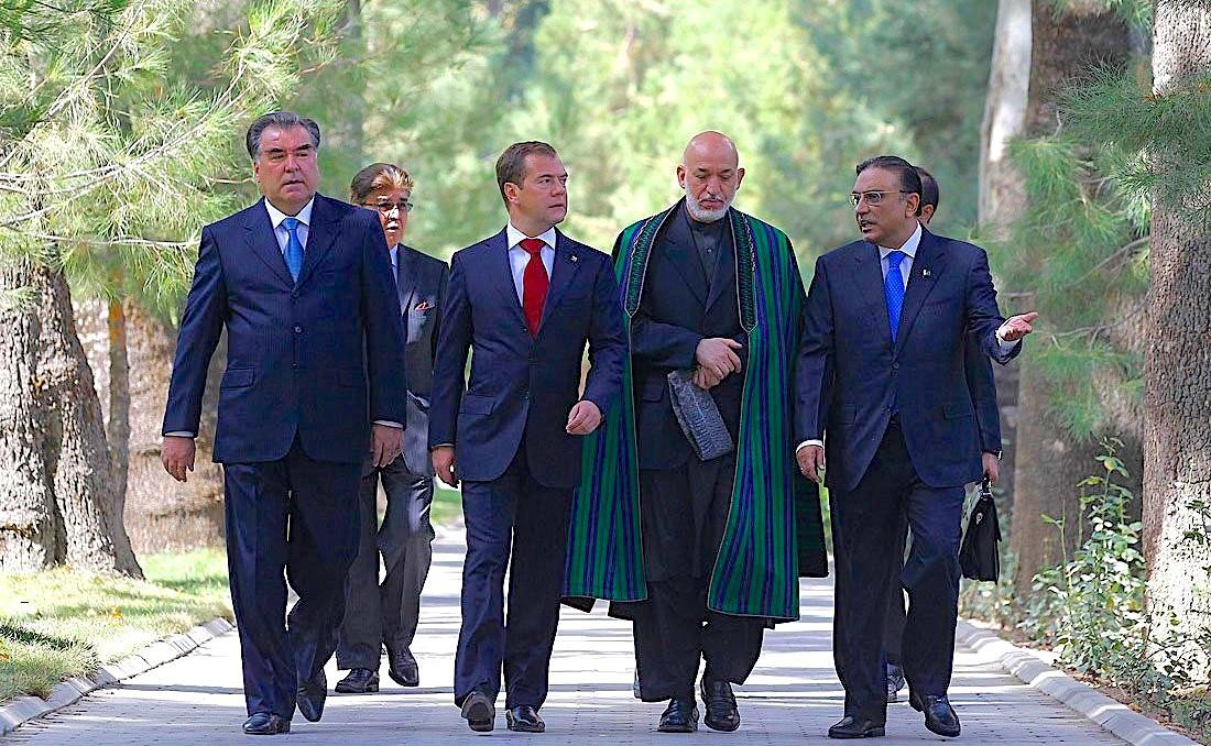 Tajik President Emomali Rahmon, Russian President Dmitry Medvedev, Afghan President Hamid Karzai, and Pakistan President Asif Ali Zardari, Dushanbe, Sept. 2011 (President of Russia)