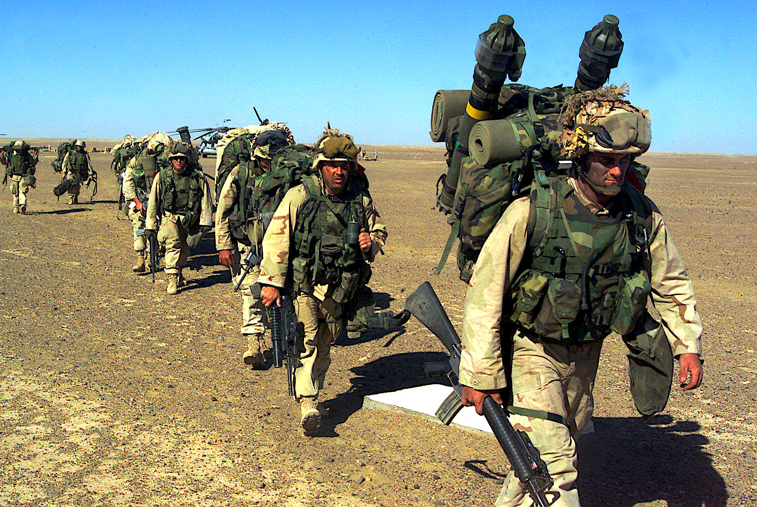 U.S. 15th Marine Expeditionary Unit after seizing a Taliban forward-operating base Nov. 25, 2001, shortly after U.S. invasion. (Sergeant Joseph R. Chenelly, U.S. Marine Corps)