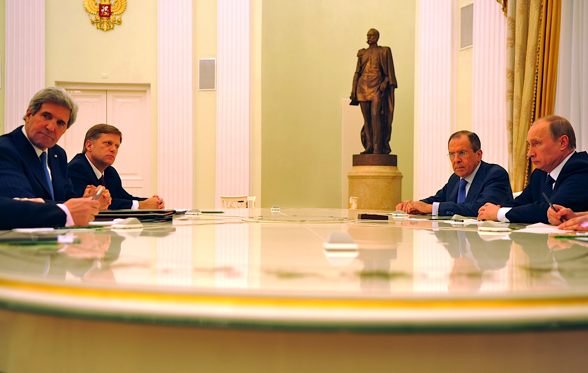 U.S. Secretary of State John Kerry with McFaul meeting Vladimir Putin and Russian Foreign Minister Sergey Lavrov in Moscow, Russia, on May 7, 2013. (State Department)