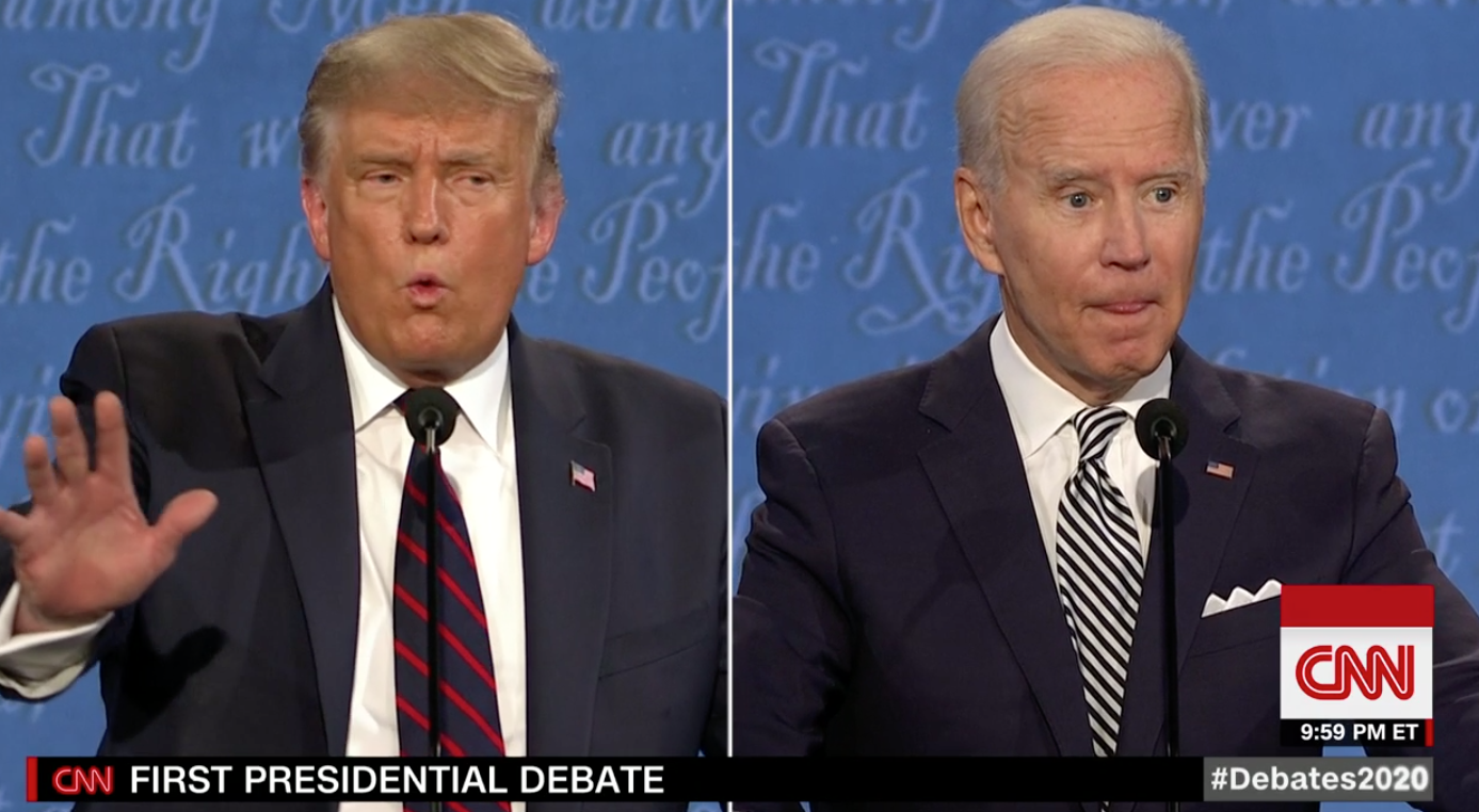 U.S. presidential debate, Sept. 29, 2020.
