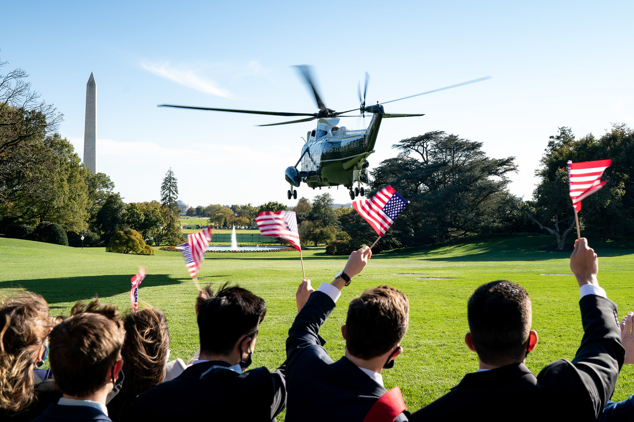 Marine One, carrying President Donald Trump, lifts off from the South Lawn, Oct. 14, 2020. (White House, Tia Dufour)