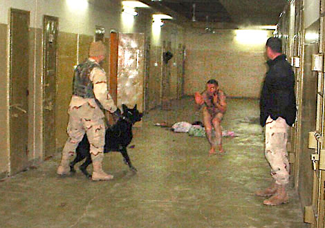 Dec. 12, 2003. SGT CORDONA has dog watching detainee while SSG FREDRICK watches. (U.S. Army / Criminal Investigation Command (CID). Seized by the U.S. Government.)