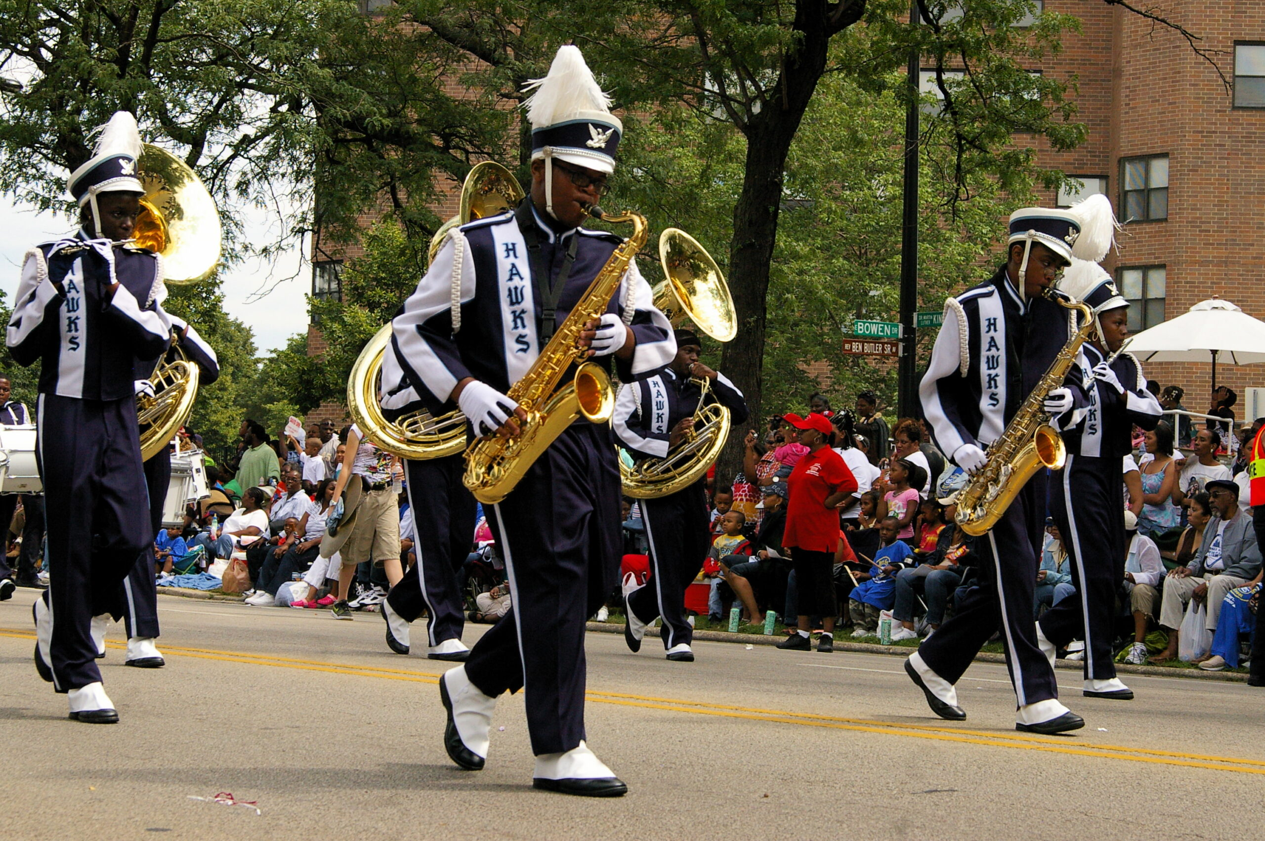 High School marching band in Chicago's 2008 Bud Billiken Parade. (Curtis Morrow, CC BY 2.0, Wikimedia Commons)